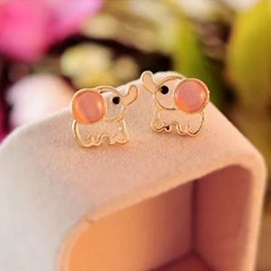 Gold Filled Pink Elephant Earrings
